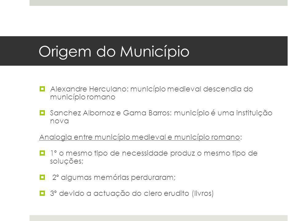 Origem do Município Alexandre Herculano: município medieval descendia do município romano Sanchez Albornoz e Gama Barros: município é uma instituição