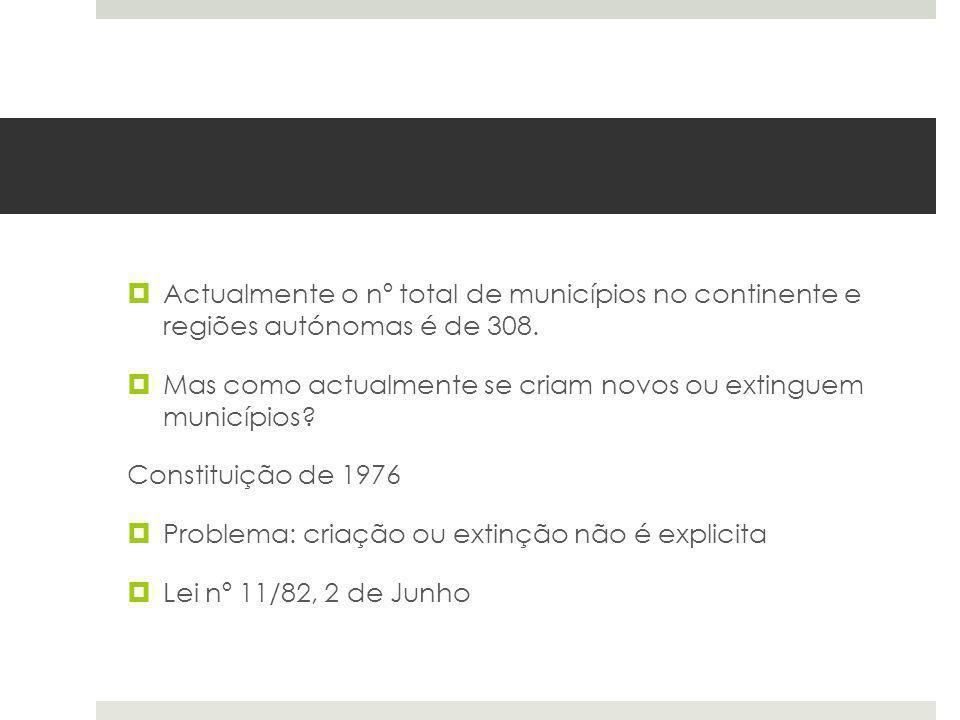 Actualmente o nº total de municípios no continente e regiões autónomas é de 308. Mas como actualmente se criam novos ou extinguem municípios? Constitu