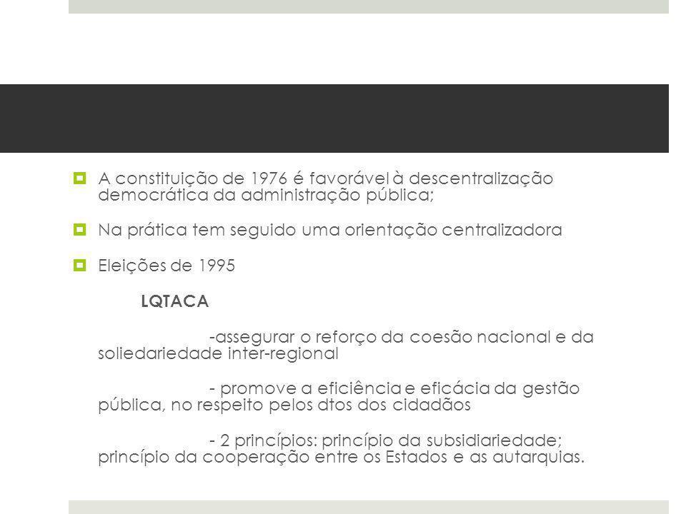 A constituição de 1976 é favorável à descentralização democrática da administração pública; Na prática tem seguido uma orientação centralizadora Eleiç
