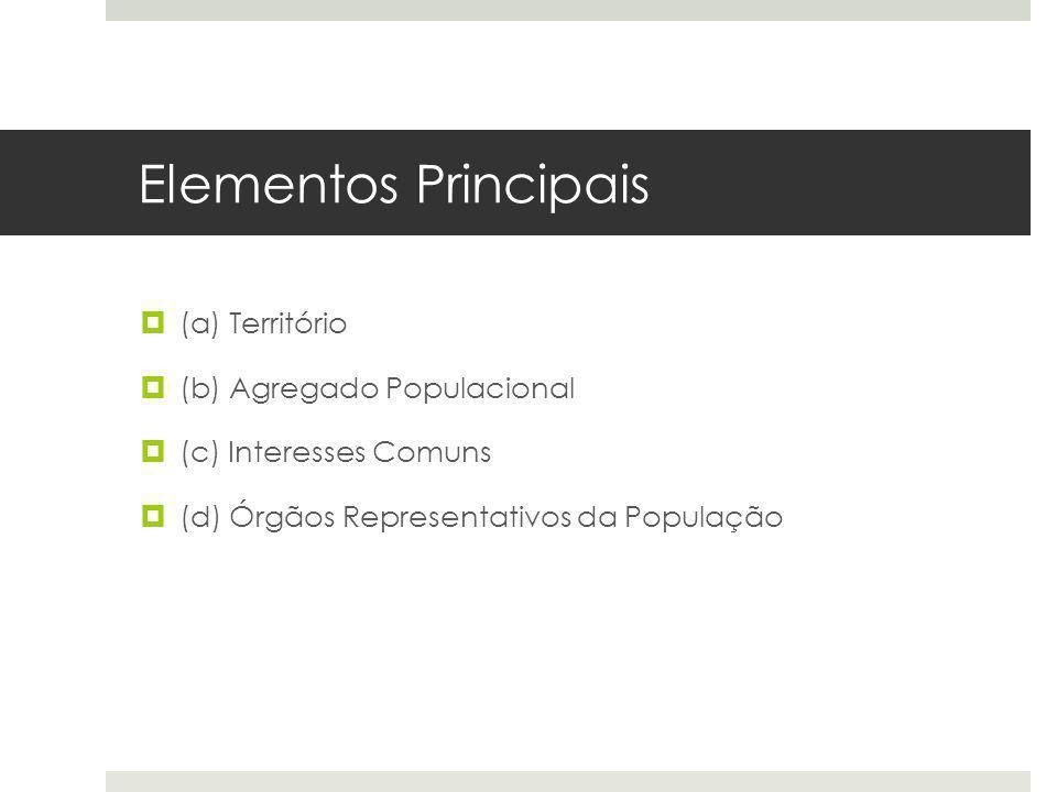 Elementos Principais (a) Território (b) Agregado Populacional (c) Interesses Comuns (d) Órgãos Representativos da População