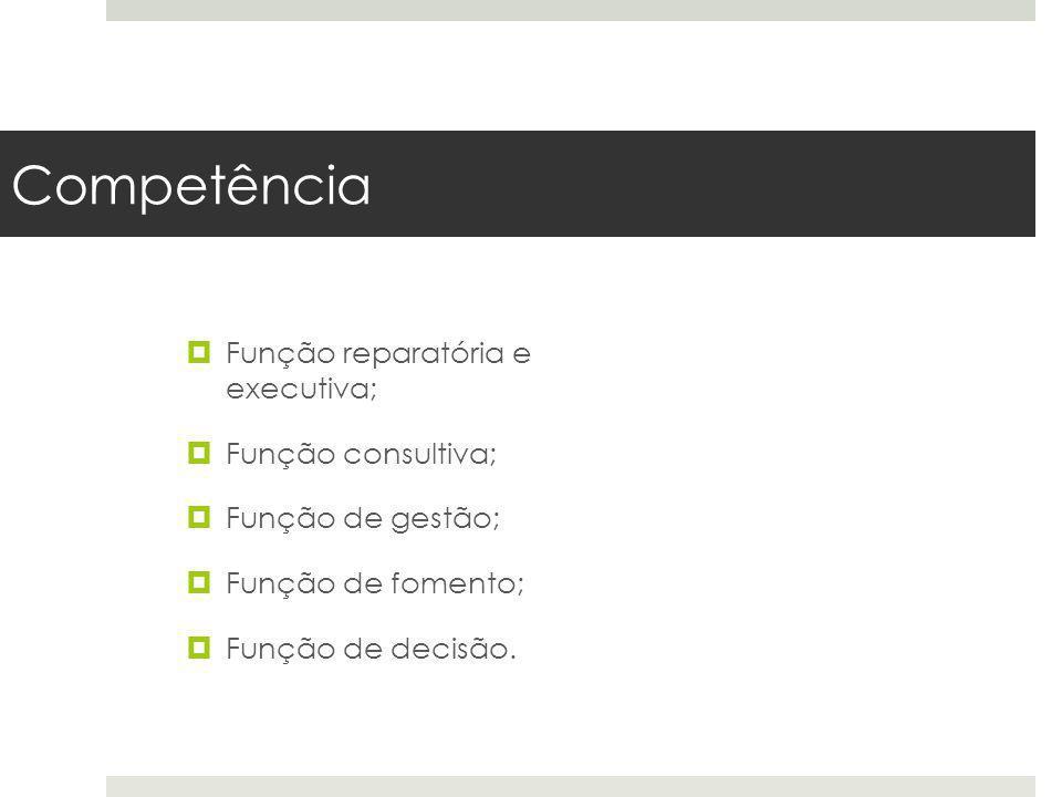 Competência Função reparatória e executiva; Função consultiva; Função de gestão; Função de fomento; Função de decisão.