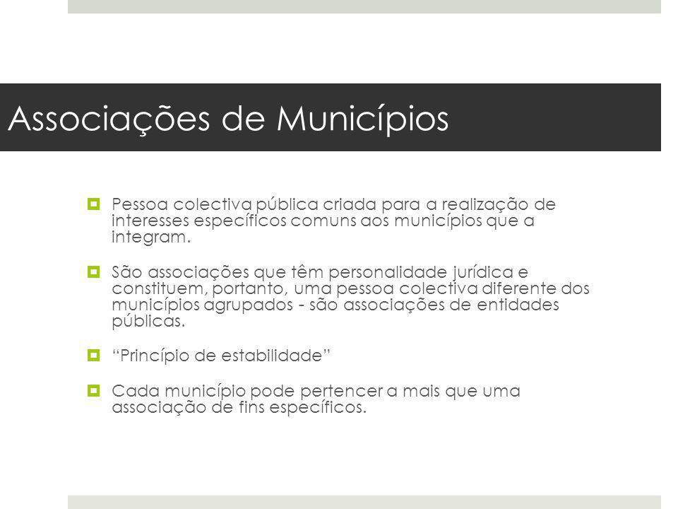 Associações de Municípios Pessoa colectiva pública criada para a realização de interesses específicos comuns aos municípios que a integram. São associ