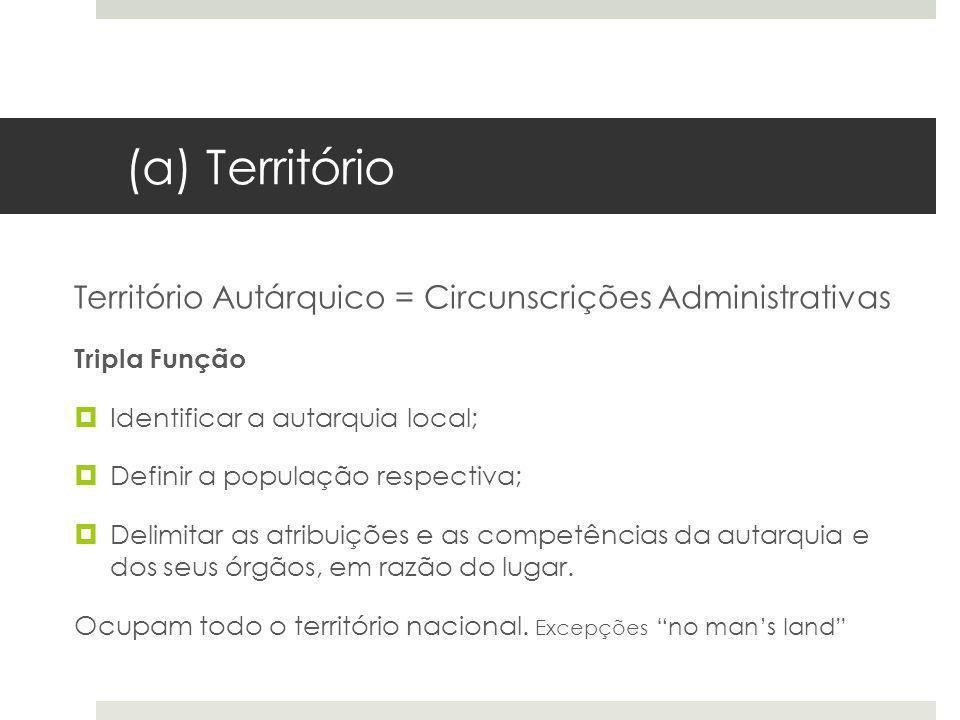 (a) Território Território Autárquico = Circunscrições Administrativas Tripla Função Identificar a autarquia local; Definir a população respectiva; Del