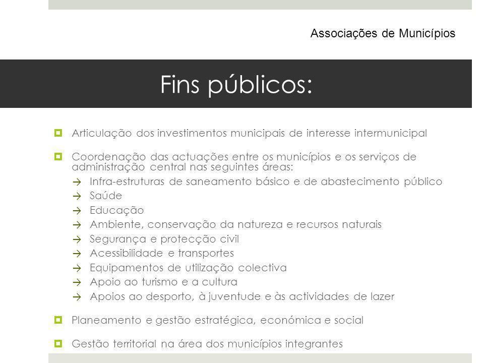 Fins públicos: Articulação dos investimentos municipais de interesse intermunicipal Coordenação das actuações entre os municípios e os serviços de adm