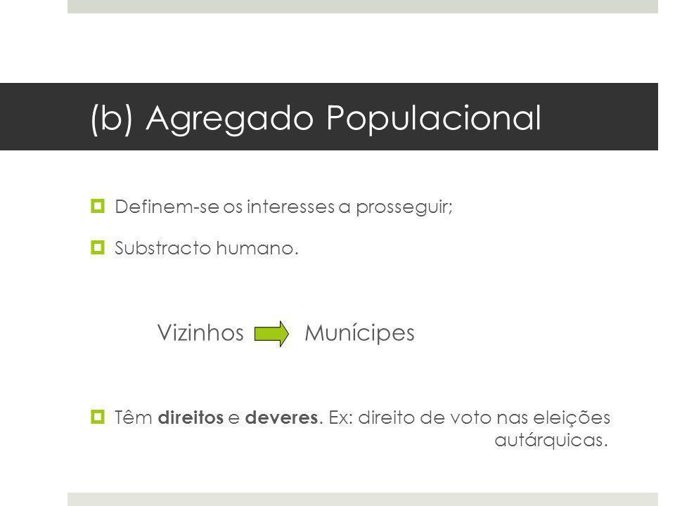 (b) Agregado Populacional Definem-se os interesses a prosseguir; Substracto humano. Vizinhos Munícipes Têm direitos e deveres. Ex: direito de voto nas