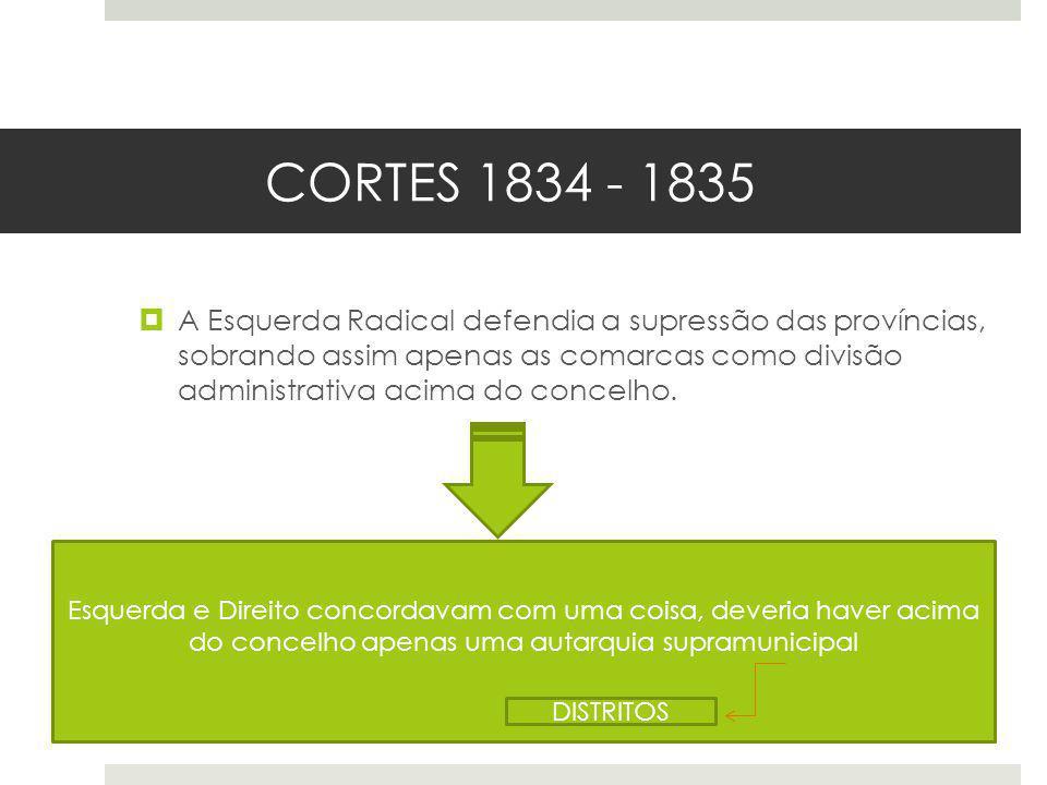 CORTES 1834 - 1835 A Esquerda Radical defendia a supressão das províncias, sobrando assim apenas as comarcas como divisão administrativa acima do conc