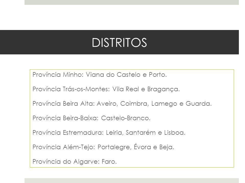 DISTRITOS Província Minho: Viana do Castelo e Porto. Província Trás-os-Montes: Vila Real e Bragança. Província Beira Alta: Aveiro, Coimbra, Lamego e G