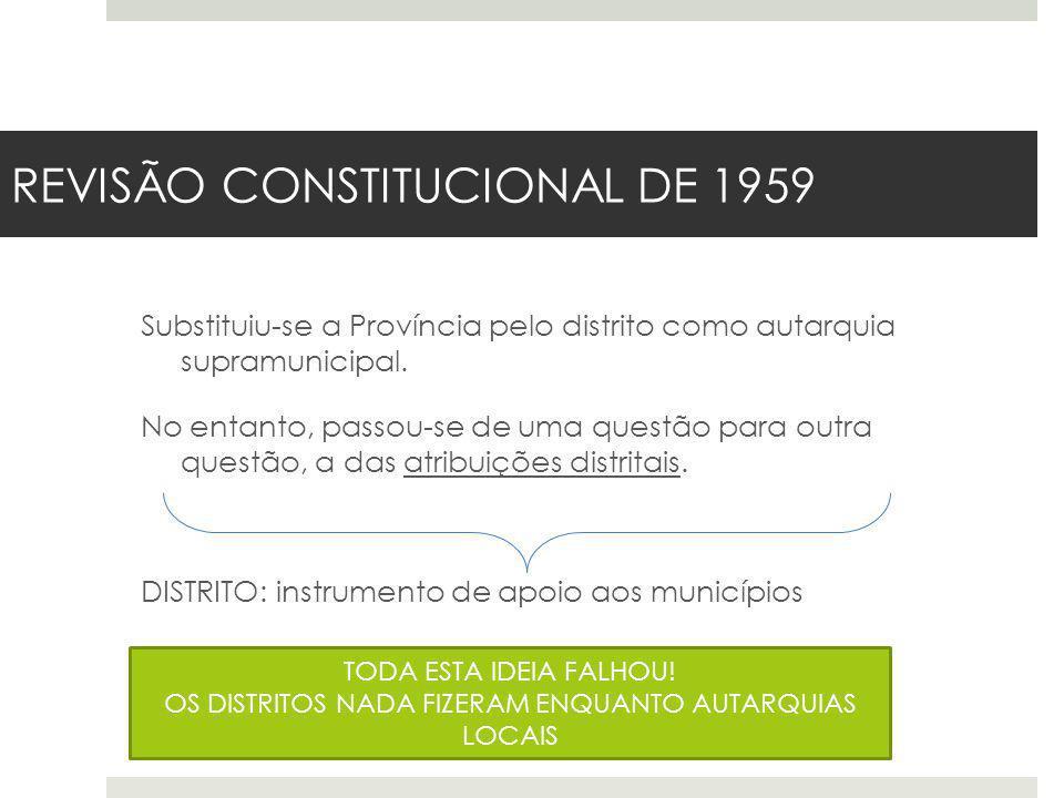 REVISÃO CONSTITUCIONAL DE 1959 Substituiu-se a Província pelo distrito como autarquia supramunicipal. No entanto, passou-se de uma questão para outra