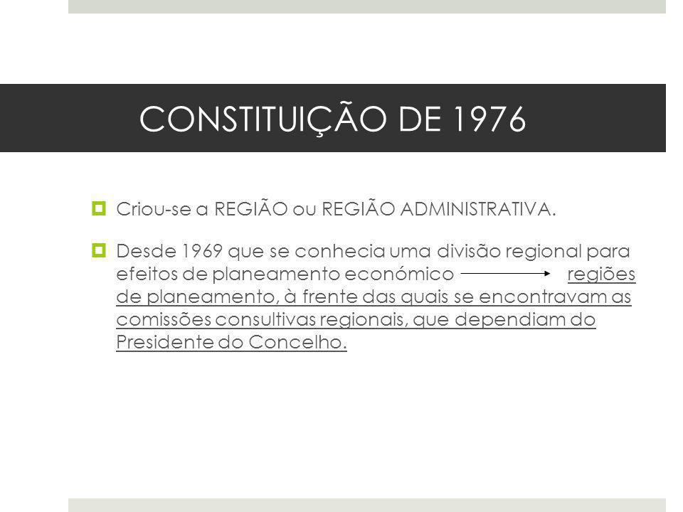 CONSTITUIÇÃO DE 1976 Criou-se a REGIÃO ou REGIÃO ADMINISTRATIVA. Desde 1969 que se conhecia uma divisão regional para efeitos de planeamento económico