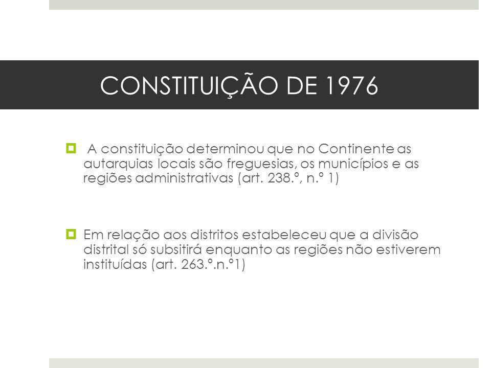 CONSTITUIÇÃO DE 1976 A constituição determinou que no Continente as autarquias locais são freguesias, os municípios e as regiões administrativas (art.