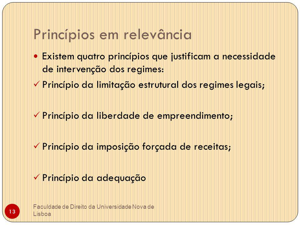 Princípios em relevância Faculdade de Direito da Universidade Nova de Lisboa 13 Existem quatro princípios que justificam a necessidade de intervenção