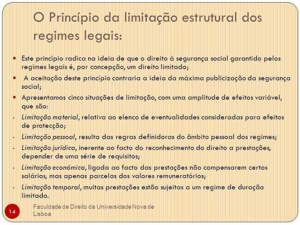 O Princípio da limitação estrutural dos regimes legais: Este princípio radica na ideia de que o direito à segurança social garantido pelos regimes leg
