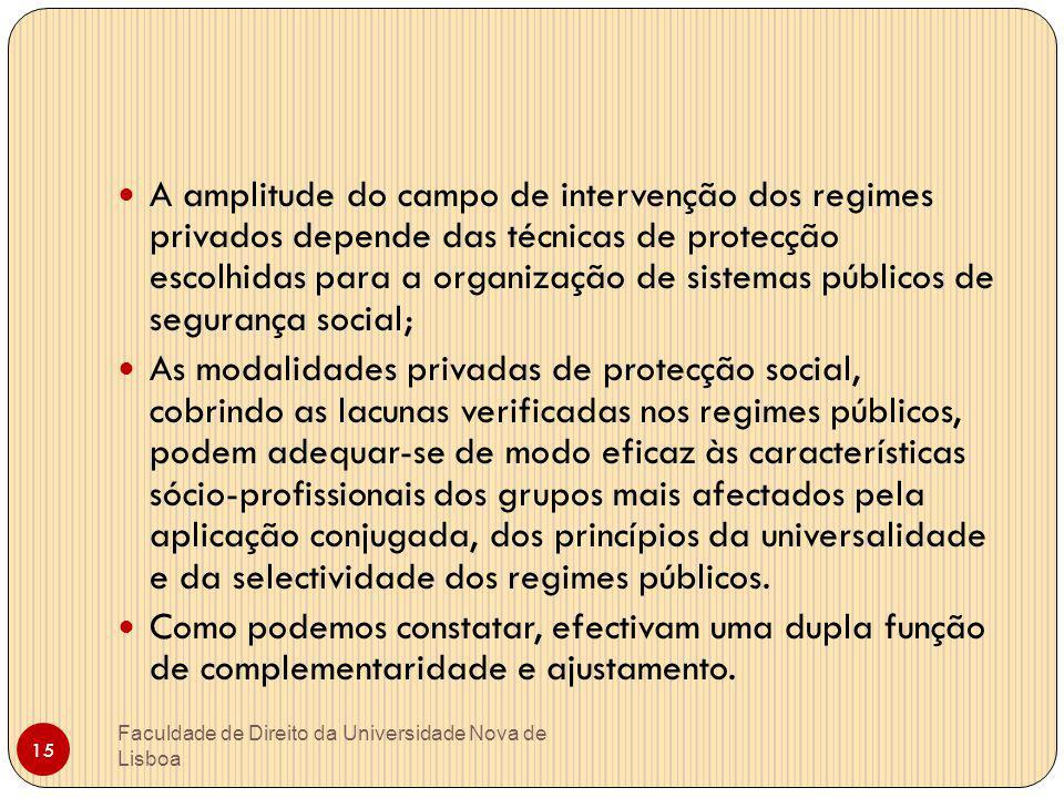 15 A amplitude do campo de intervenção dos regimes privados depende das técnicas de protecção escolhidas para a organização de sistemas públicos de se
