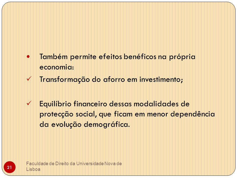 Faculdade de Direito da Universidade Nova de Lisboa 21 Também permite efeitos benéficos na própria economia: Transformação do aforro em investimento;