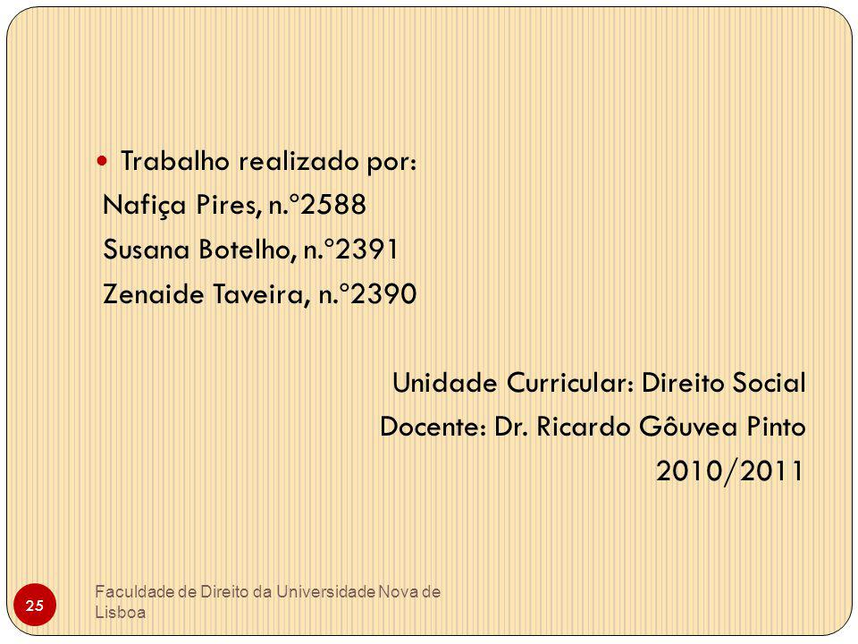 Faculdade de Direito da Universidade Nova de Lisboa 25 Trabalho realizado por: Nafiça Pires, n.º2588 Susana Botelho, n.º2391 Zenaide Taveira, n.º2390
