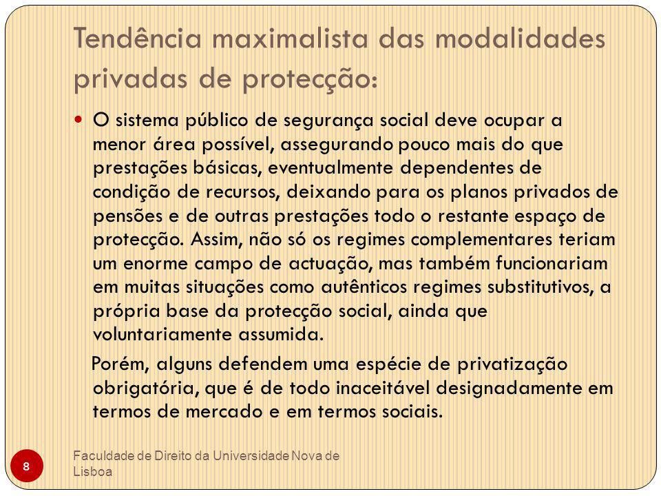 Tendência maximalista das modalidades privadas de protecção: Faculdade de Direito da Universidade Nova de Lisboa 8 O sistema público de segurança soci