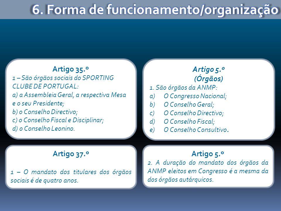 Artigo 35.º 1 – São órgãos sociais do SPORTING CLUBE DE PORTUGAL: a) a Assembleia Geral, a respectiva Mesa e o seu Presidente; b) o Conselho Directivo; c) o Conselho Fiscal e Disciplinar; d) o Conselho Leonino.