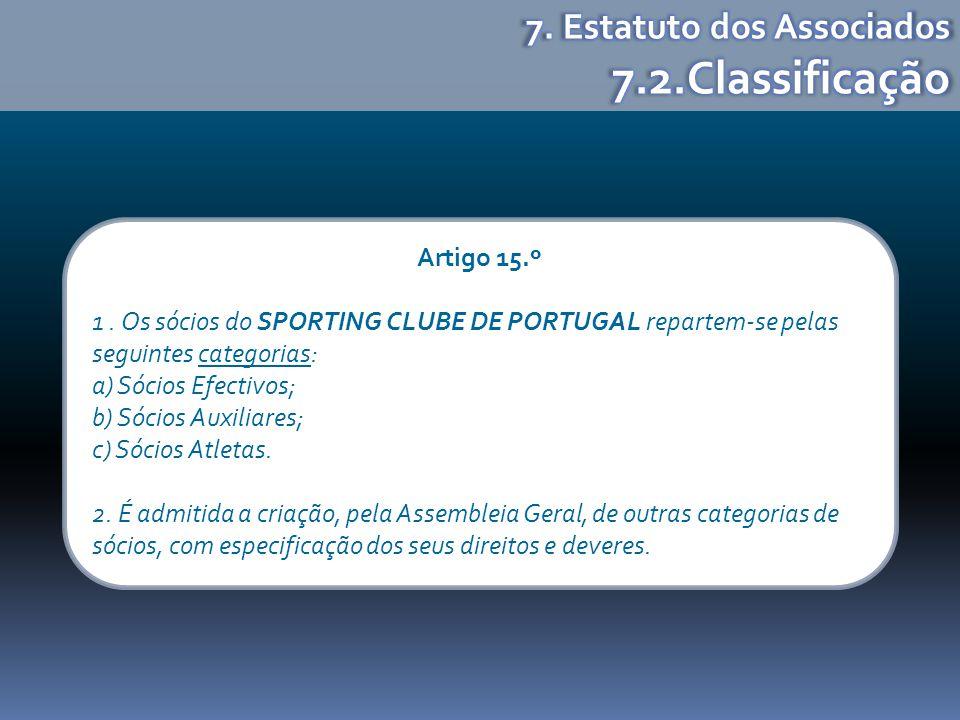 Artigo 15.º 1. Os sócios do SPORTING CLUBE DE PORTUGAL repartem-se pelas seguintes categorias: a) Sócios Efectivos; b) Sócios Auxiliares; c) Sócios At