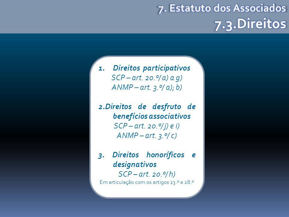 1.Direitos participativos SCP – art. 20.º/ a) a g) ANMP – art. 3.º/ a); b) 2.Direitos de desfruto de benefícios associativos SCP – art. 20.º/ j) e i)