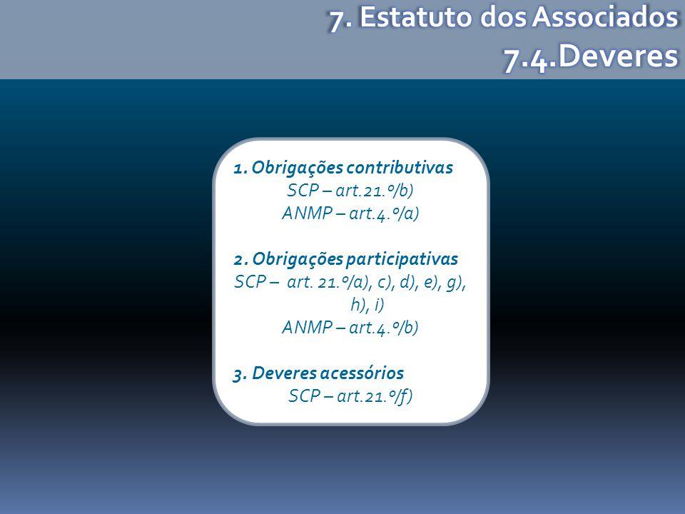 1. Obrigações contributivas SCP – art.21.º/b) ANMP – art.4.º/a) 2. Obrigações participativas SCP – art. 21.º/a), c), d), e), g), h), i) ANMP – art.4.º