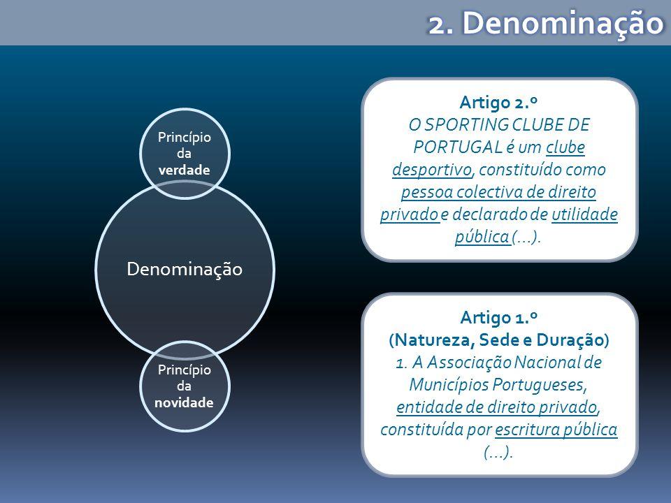 Denominação Princípio da verdade Princípio da novidade Artigo 2.º O SPORTING CLUBE DE PORTUGAL é um clube desportivo, constituído como pessoa colectiva de direito privado e declarado de utilidade pública (…).
