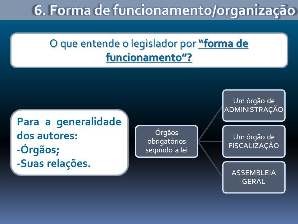 Órgãos obrigatórios segundo a lei Um órgão de ADMINISTRAÇÃO Um órgão de FISCALIZAÇÃO ASSEMBLEIA GERAL O que entende o legislador por forma de funciona