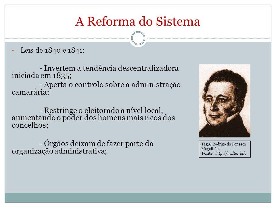 A Reforma do Sistema Leis de 1840 e 1841: - Invertem a tendência descentralizadora iniciada em 1835; - Aperta o controlo sobre a administração camarár