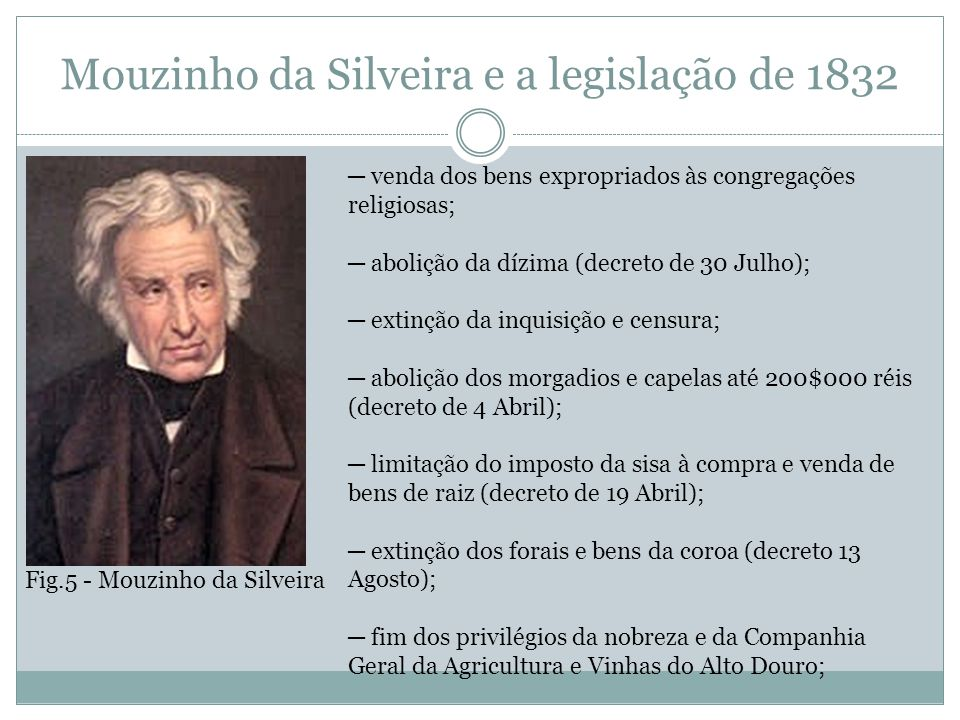 Mouzinho da Silveira e a legislação de 1832 venda dos bens expropriados às congregações religiosas; abolição da dízima (decreto de 30 Julho); extinção