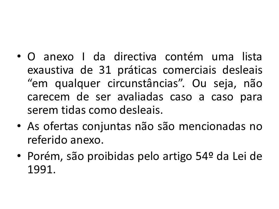 O anexo I da directiva contém uma lista exaustiva de 31 práticas comerciais desleais em qualquer circunstâncias.