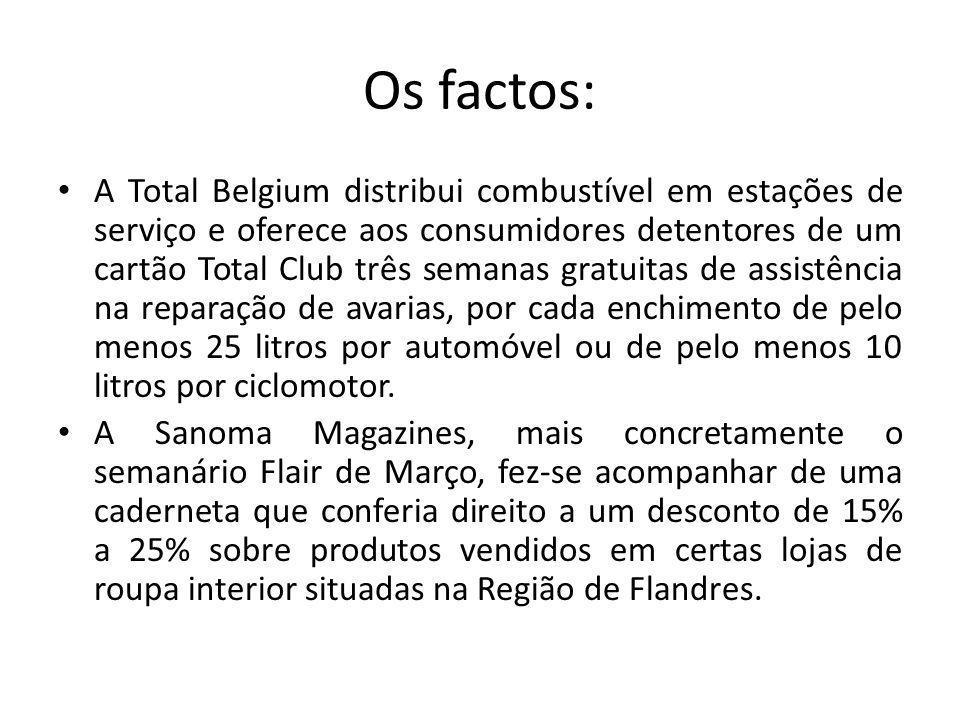 Os factos: A Total Belgium distribui combustível em estações de serviço e oferece aos consumidores detentores de um cartão Total Club três semanas gratuitas de assistência na reparação de avarias, por cada enchimento de pelo menos 25 litros por automóvel ou de pelo menos 10 litros por ciclomotor.