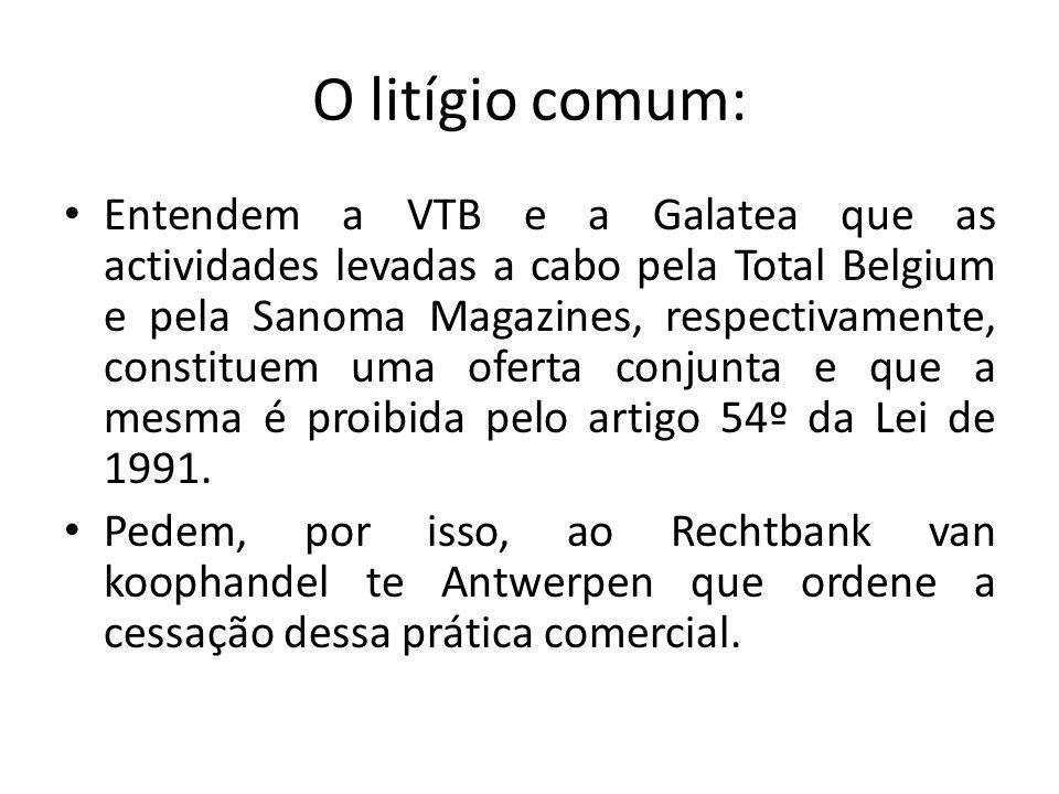 O litígio comum: Entendem a VTB e a Galatea que as actividades levadas a cabo pela Total Belgium e pela Sanoma Magazines, respectivamente, constituem uma oferta conjunta e que a mesma é proibida pelo artigo 54º da Lei de 1991.