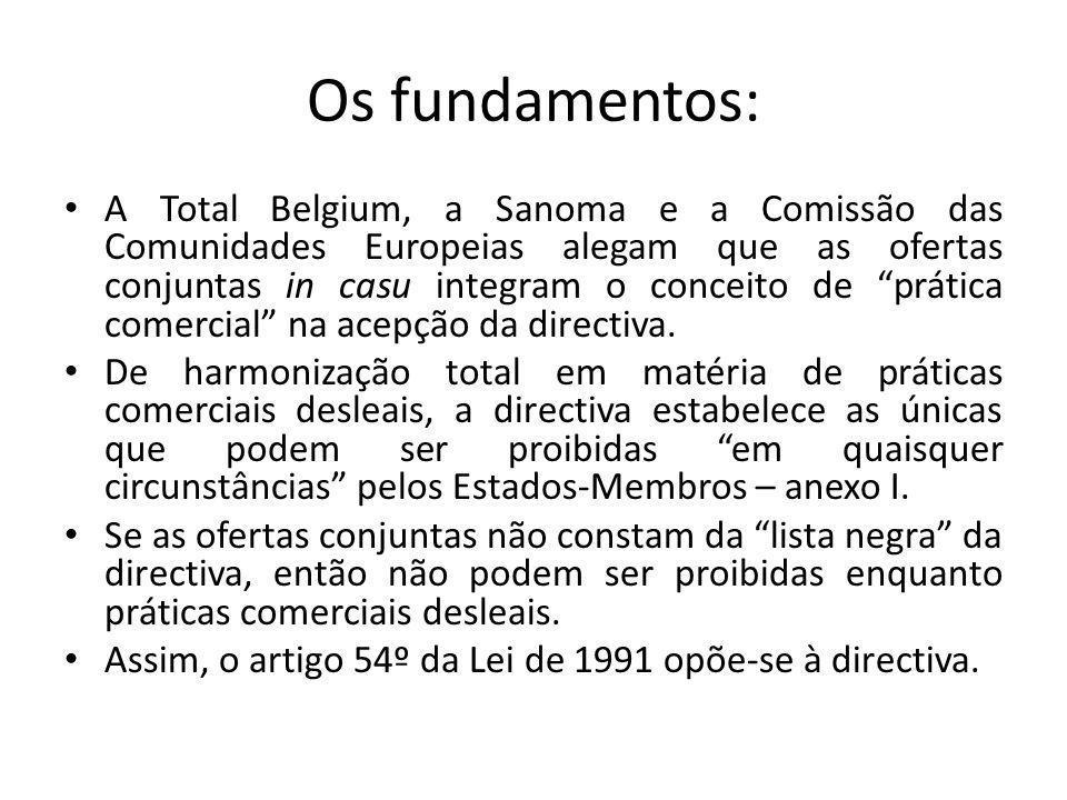 Os fundamentos: A Total Belgium, a Sanoma e a Comissão das Comunidades Europeias alegam que as ofertas conjuntas in casu integram o conceito de prática comercial na acepção da directiva.