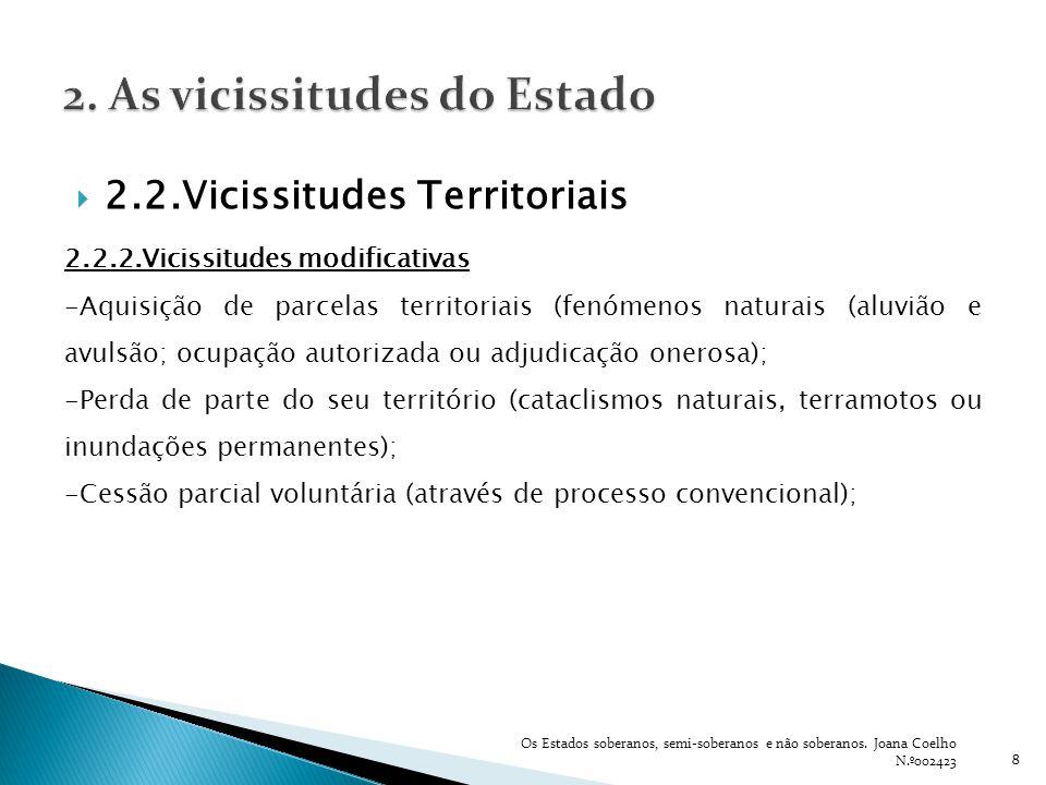 8 2.2.Vicissitudes Territoriais 2.2.2.Vicissitudes modificativas -Aquisição de parcelas territoriais (fenómenos naturais (aluvião e avulsão; ocupação