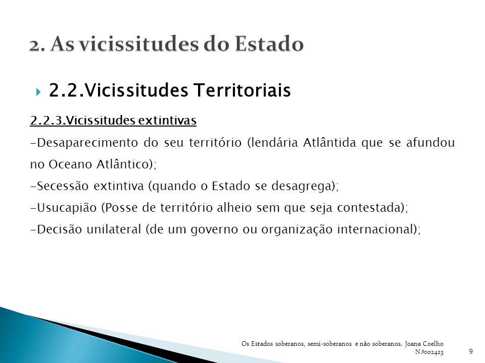 9 2.2.Vicissitudes Territoriais 2.2.3.Vicissitudes extintivas -Desaparecimento do seu território (lendária Atlântida que se afundou no Oceano Atlântic