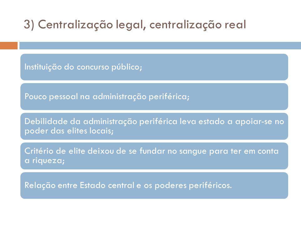 3) Centralização legal, centralização real Instituição do concurso público;Pouco pessoal na administração periférica; Debilidade da administração peri