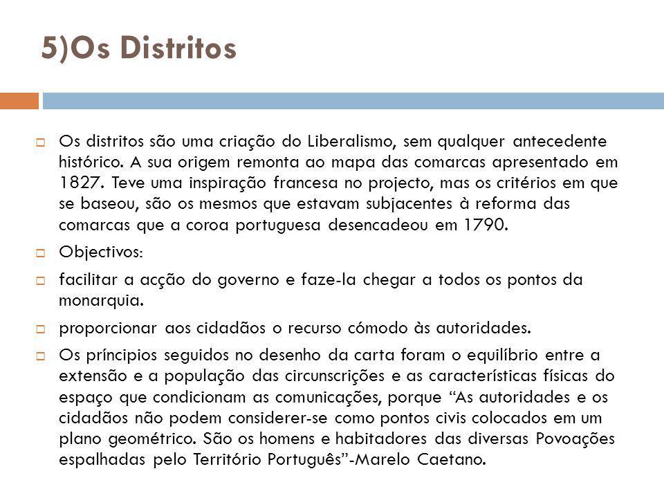 5)Os Distritos Os distritos são uma criação do Liberalismo, sem qualquer antecedente histórico. A sua origem remonta ao mapa das comarcas apresentado