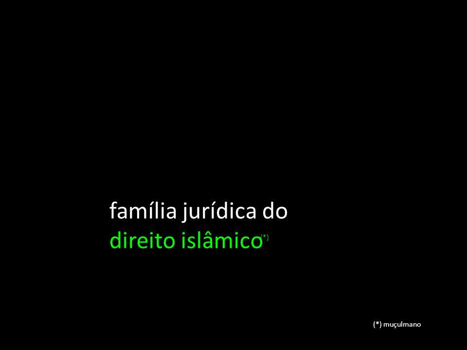 família jurídica do direito islâmico (*) (*) muçulmano