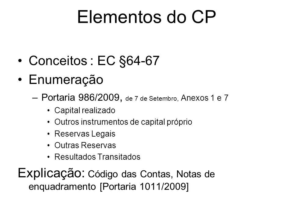 Elementos do CP Conceitos : EC §64-67 Enumeração –Portaria 986/2009, de 7 de Setembro, Anexos 1 e 7 Capital realizado Outros instrumentos de capital p