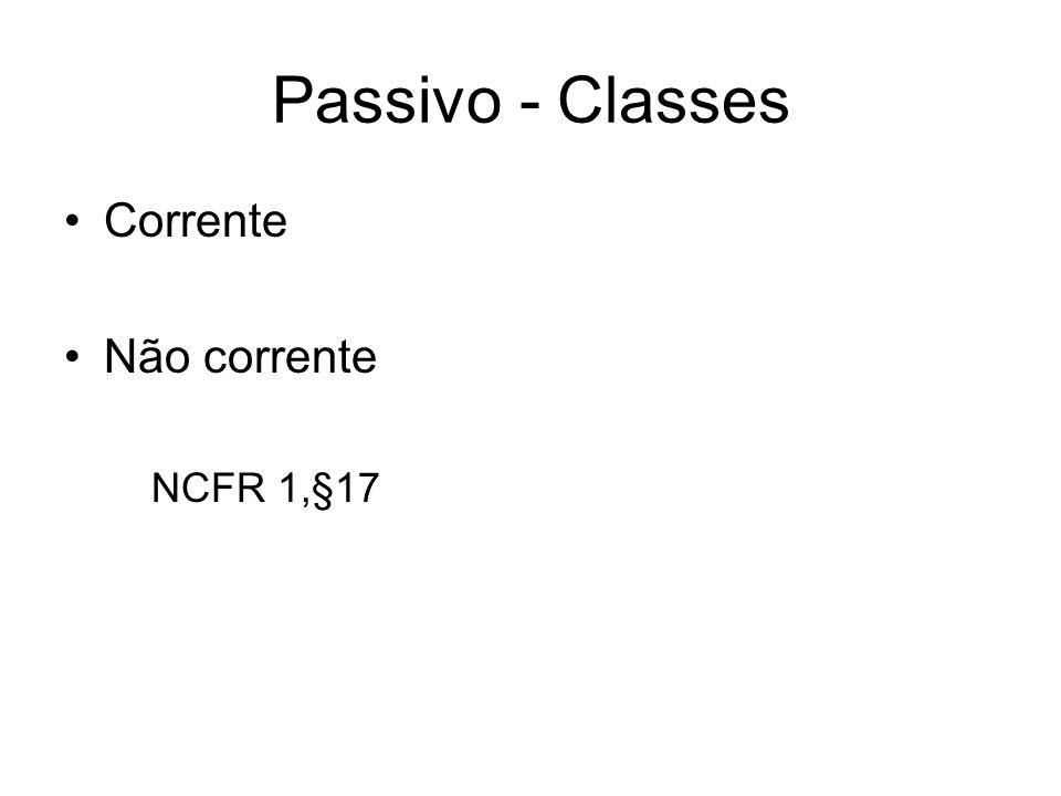 Passivo - Classes Corrente Não corrente NCFR 1,§17