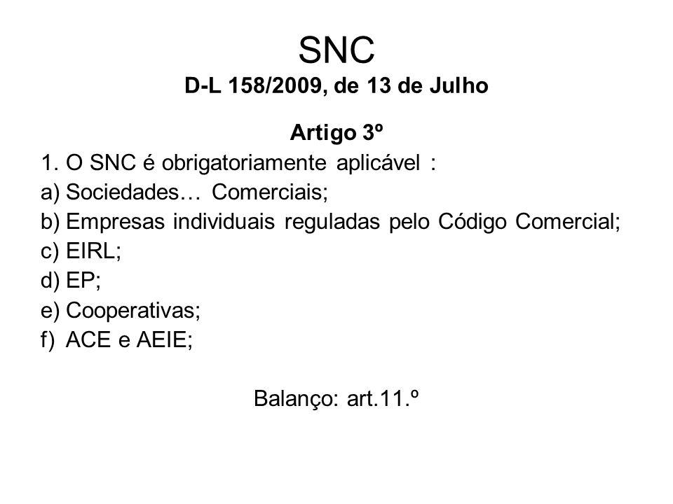 SNC D-L 158/2009, de 13 de Julho Artigo 3º 1.O SNC é obrigatoriamente aplicável : a)Sociedades… Comerciais; b)Empresas individuais reguladas pelo Códi
