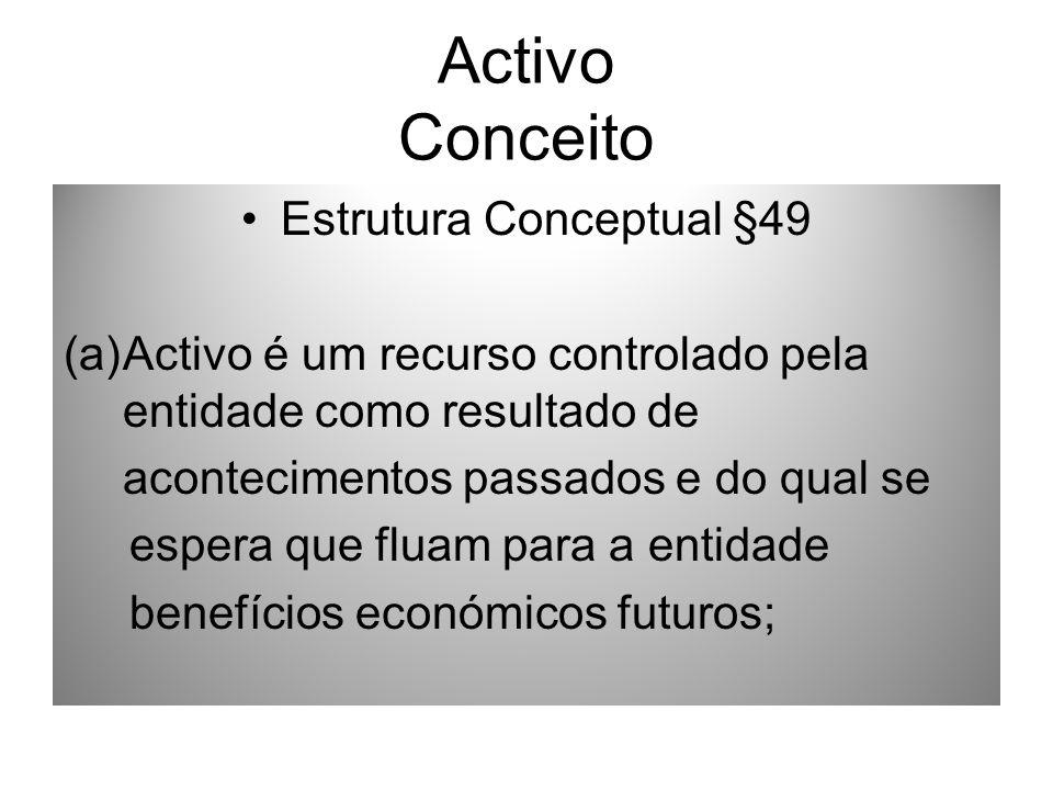 Activo Conceito Estrutura Conceptual §49 (a)Activo é um recurso controlado pela entidade como resultado de acontecimentos passados e do qual se espera