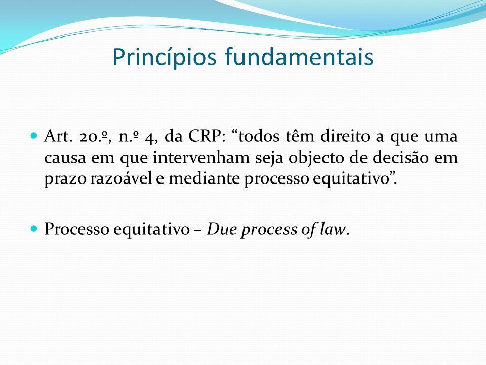 Princípios fundamentais Art. 20.º, n.º 4, da CRP: todos têm direito a que uma causa em que intervenham seja objecto de decisão em prazo razoável e med