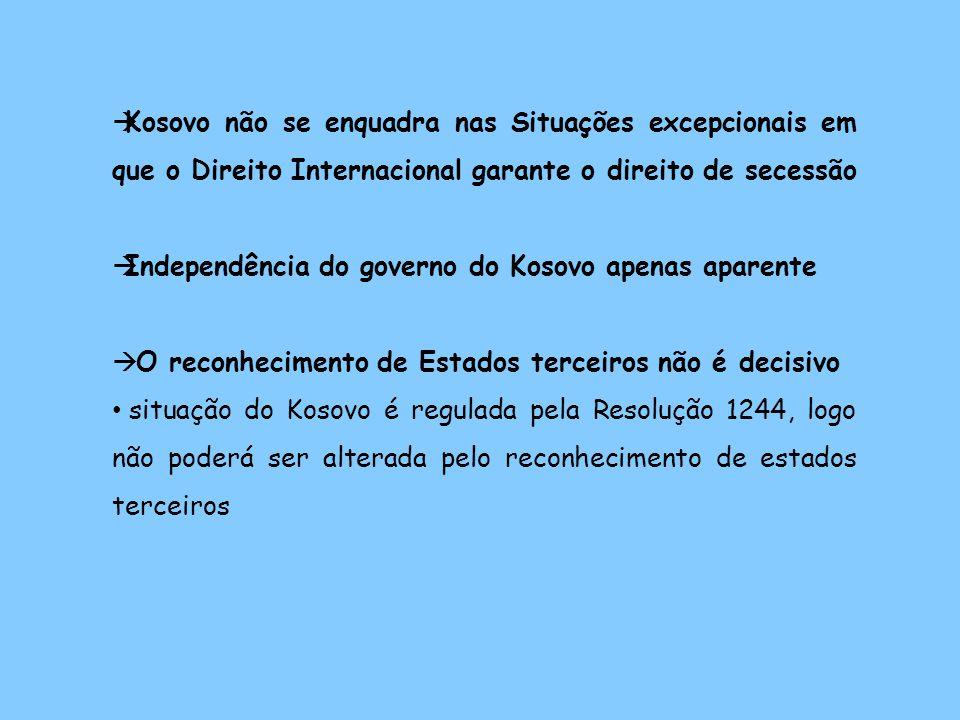 Kosovo não se enquadra nas Situações excepcionais em que o Direito Internacional garante o direito de secessão Independência do governo do Kosovo apenas aparente O reconhecimento de Estados terceiros não é decisivo situação do Kosovo é regulada pela Resolução 1244, logo não poderá ser alterada pelo reconhecimento de estados terceiros