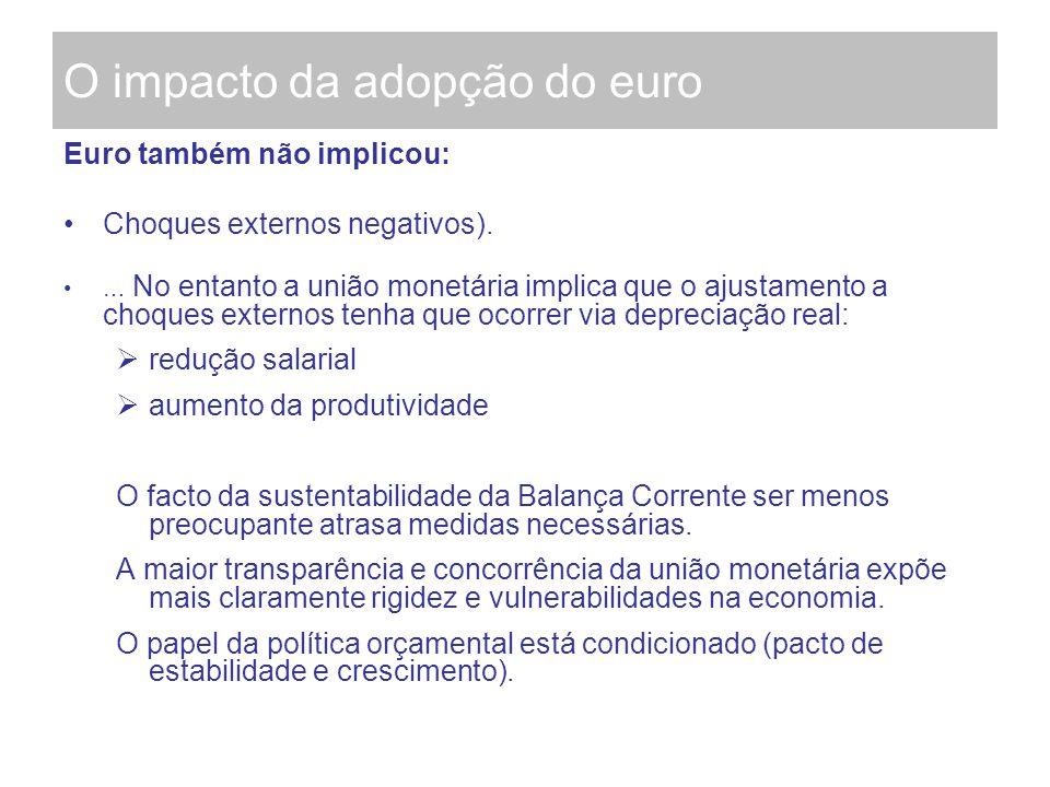 O impacto da adopção do euro Euro também não implicou: Choques externos negativos). … No entanto a união monetária implica que o ajustamento a choques