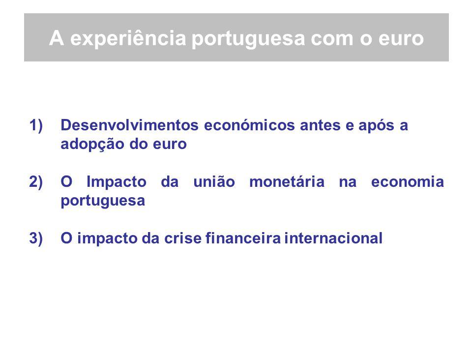 A experiência portuguesa com o euro 1)Desenvolvimentos económicos antes e após a adopção do euro 2)O Impacto da união monetária na economia portuguesa 3)O impacto da crise financeira internacional