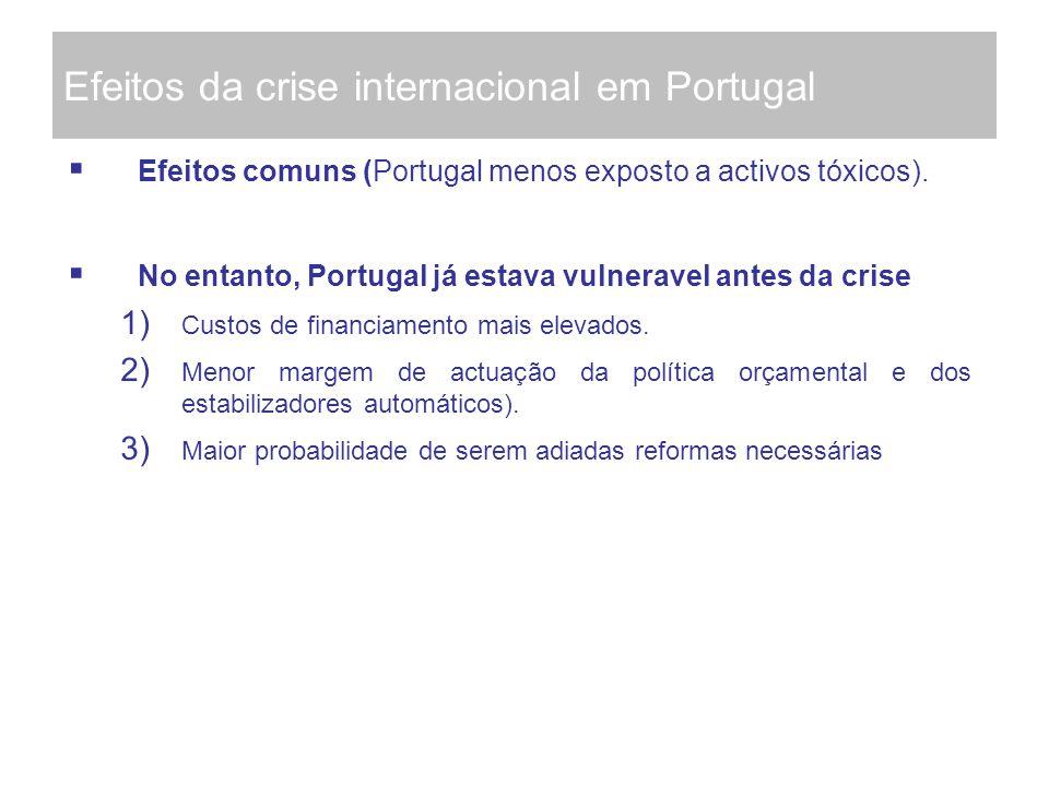 Efeitos da crise internacional em Portugal Efeitos comuns (Portugal menos exposto a activos tóxicos). No entanto, Portugal já estava vulneravel antes