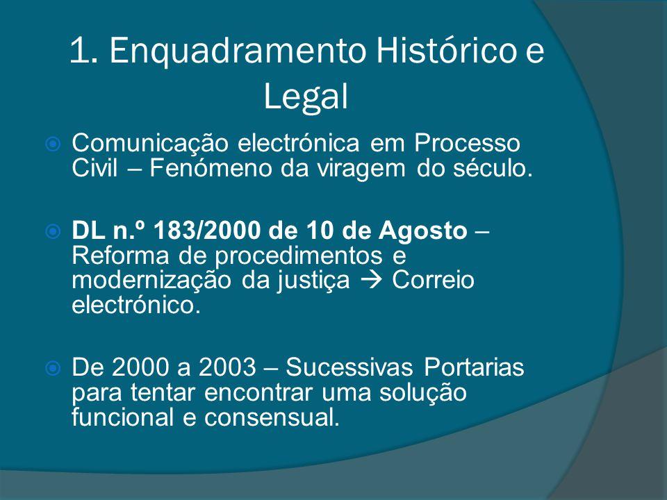1. Enquadramento Histórico e Legal Comunicação electrónica em Processo Civil – Fenómeno da viragem do século. DL n.º 183/2000 de 10 de Agosto – Reform