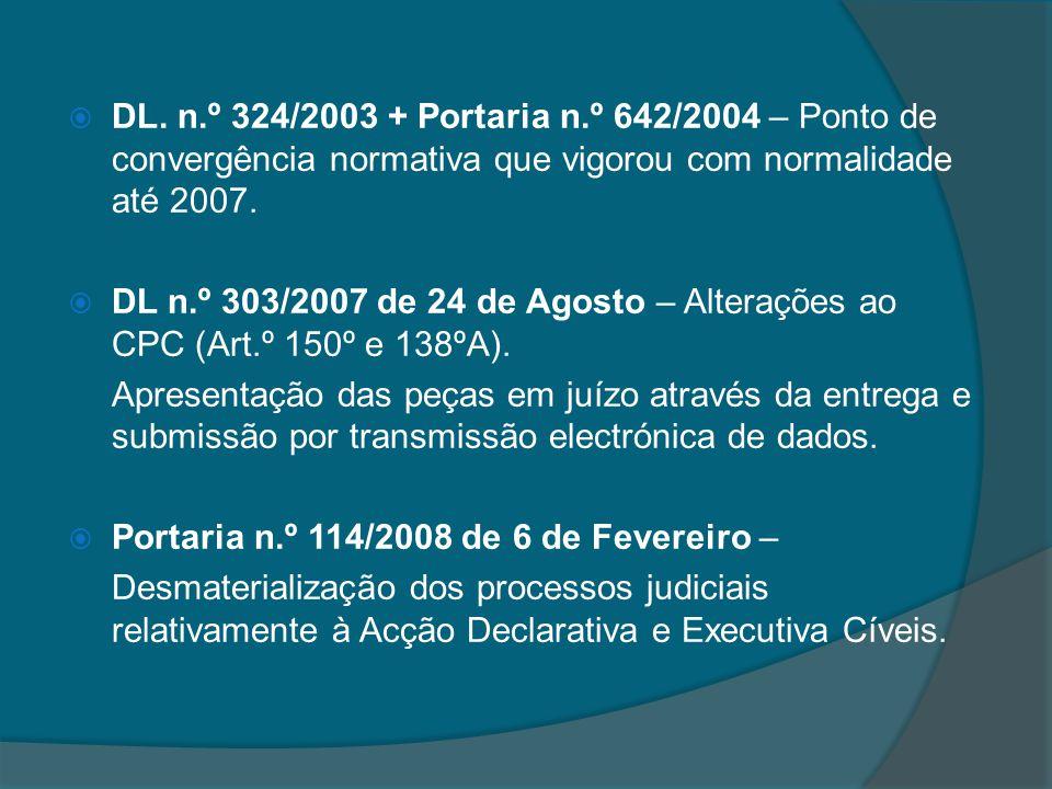 DL. n.º 324/2003 + Portaria n.º 642/2004 – Ponto de convergência normativa que vigorou com normalidade até 2007. DL n.º 303/2007 de 24 de Agosto – Alt