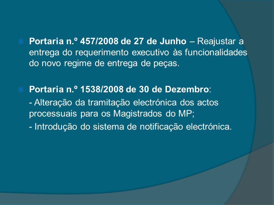 Portaria n.º 457/2008 de 27 de Junho – Reajustar a entrega do requerimento executivo às funcionalidades do novo regime de entrega de peças. Portaria n
