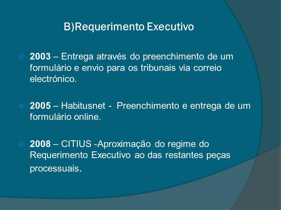 B)Requerimento Executivo 2003 – Entrega através do preenchimento de um formulário e envio para os tribunais via correio electrónico. 2005 – Habitusnet